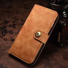 Retro Leather Magnetic Removable Card Slot Wallet Cover Case For Samsung iPhone