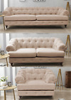 Oxford Three Seater Fabric White Linen Chesterfield Beige New Sofa Quality Wood