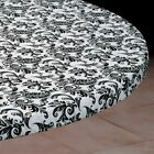Vinyl Fitted Table Cover IVORY/BLACK Elasticized Square SM MED LG Rd Oval Oblong