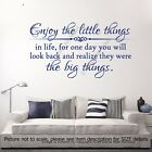 Enjoy the little things in Life Quote Motivational Decal vinyl Wall Art Stickers