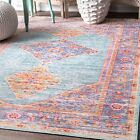 nuLOOM Traditional Vintage Distressed Jenice Area Rug in Green and Purple Multi