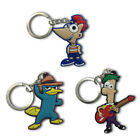 3pcs Phineas And Ferb Cartoon Figure Key Chain PVC Key Ring Key Holder Pendant
