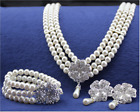 Rhinestone Crystal Pearl Necklace Earring Women Wedding Bridal Jewelry Set Gift