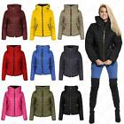 Womens Ladies Padded Quilted Thick Warm Zip Hooded Puffer Bubble Jacket Coat