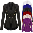 New Women Double Breasted Gold Button Military Style Blazer Coat Jacket Outwear
