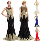 Appliques 2017 Mermaid Crystal Gold Wedding Evening Dress Formal Prom Party Gown