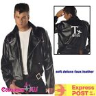 Mens T-Birds Gang Jacket 1950 Faux Leather 50s Black Grease Danny Tbird Costume