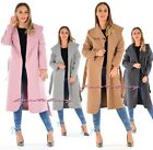 Ladies Trench Waterfall Warm Winter Coat Italian Belted Long Duster Jacket 8-14.