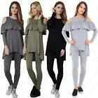 Womens Ladies Loungewear Cold Shoulder Ruffle Frill Top Legging Two Piece Suit