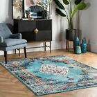 nuLOOM Traditional Distressed Medallion Oriental Area Rug in Aqua and Navy Blue