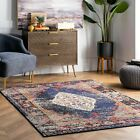 nuLOOM NEW Traditional Distressed Medallion Oriental Area Rug in Navy Blue