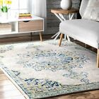 nuLOOM NEW Traditional Vintage Medallion Distressed Area Rug in Ivory and Blue