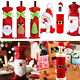 Christmas Decorations Red Santa Tree Wine Bottle Cover Bags Dinner Party 10Style