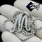 """18-30""""MEN 925 STERLING SILVER 2MM MOON CUT BEAD CHAIN ICED LETTER""""M"""" PENDANT*175"""