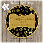 GOLD & BLACK CHRISTMAS PERSONALISED ROUND CIRCLE GLOSS STICKERS X 12
