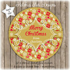 CHRISTMAS GOLD RED PERSONALISED ROUND GLOSS STICKERS X12