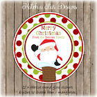 CHRISTMAS SANTA CHIMNEY PERSONALISED ROUND GLOSS STICKERS X12