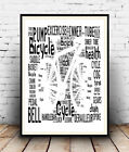 Bicycle 3:  Cycling terms and words Spelled out in poster, Wall art.