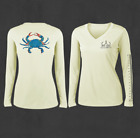 Ladies White V-Neck Blue Crab Performance Fishing Shirts