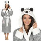 Animal Womens Thick Fleece Hooded Dressing Gown Ladies Xmas Gift Size 20-22