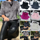 Women's 100% Real Rabbit Fur Knit Coat Jacket Pullover Outwear Unique Style New