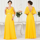 Women's Long Cocktail Bridesmaid Dress Formal Party Evening Gown Dresses Yellow