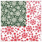 Christmas Snowflake Polycotton Fabric Green and White or Red and White