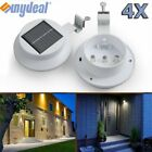 4 Pack Solar Power 3 LED Wall Light Security Weatherproof Outdoor Gutter Lamp