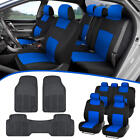 Car SUV Seat Covers for Auto &amp; All Weather Rubber Floor Mats - Full Interior Set <br/> FREE 30 Days Return /5 Colors (Black,Tan,Gray,Red,Blue)