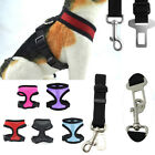 Mesh Harness & SEAT BELT Combo Pet Dog Cat Soft Walk Collar Safety Strap Vest