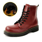 SAGUARO Winter Warm PU Leather Ankel Boots Fur Lined Work Boots Boat Shoes