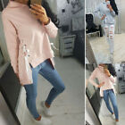 Fashion Women Lace Up Sweatshirt Top Long Sleeve Sweater Pullover Jumper Top XL