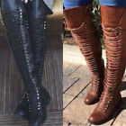 Lady Over the Knee Boots Lace Up Bandage Thigh High Combat Low Heel Flat Shoes