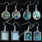 New Zealand Abalone Shell Round Oval Beads Dangle Earrings Pair Jewelry MBR300