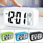 Smart Large Screen LED Lazy Mute Low Light Sensor Digital Alarm Clock Calendar