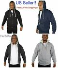 Men's North Pole WhIte SHERPA LINED EXTRA THICK WARM HOODIE SWEATER JACKET