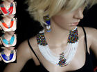 African multi strand hand beaded statement necklace blue white red orange