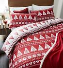 Catherine Lansfield Nordic Tree Reversible Cotton Rich Duvet Cover Set Red