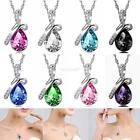 Women's Fashion Silver Chain Crystal Rhinestone Pendant Necklace Jewelry Gift Y4