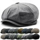 Mens Flat Cap Tweed Grey 8 Panel Newsboy Baker boy Hat Gatsby Peaky Blinders USA