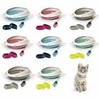 High Rim Large or  XL Jumbo Cat Litter Tray Bundle + 2 Bowls + Easy Litter Scoo