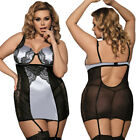 Women Plus Size Sexy/Sissy Lingerie Nightwear Sleepwear Thong Suspenders Sets