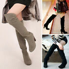 Trendy Women Winter Sexy Over The Knee Thigh High Long Boots Block Heels Shoes