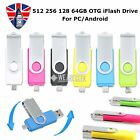 64/128/256/512GB OTG Device 2 in 1 USB 2.0 i-Flash Drive Thumb Key Stick Pen UK