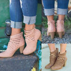 LADIES STRAPPY ANKLE BOOTS WOMENS BLOCK LOW MID HEEL ZIP CASUAL SHOES 2 COLOURS