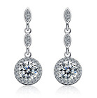 925 Sterling Silver Cubic Zirconia Crystal Earrings, choice of colours