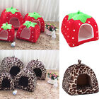 Strawberry Leopard Pet Dog Cat Bed House Kennel Puppy Cushion IgIoo Pad Nest
