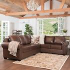 Top Grain Leather Sectional Sofa Set Indoor Luxury Stylish L-Shape Seating Couch