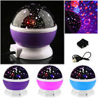 LED Rotating Star Projector Baby Night Light Nursery Kid Room Lighting Lamp Gift