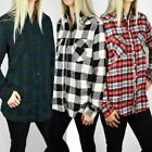 Womens Ladies Long Sleeve Lumberjack Checked Shirt Button Up Warm Winter Fleece